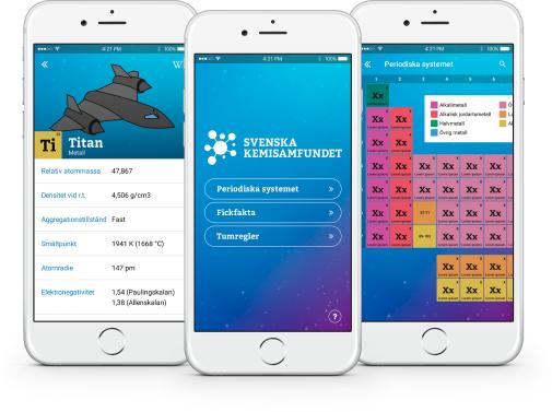 App om Periodiska systemet från Svenska kemisamfundet